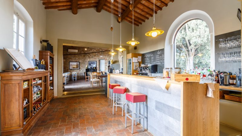 wine bar at Relais Villa Olmo wine resort tuscany