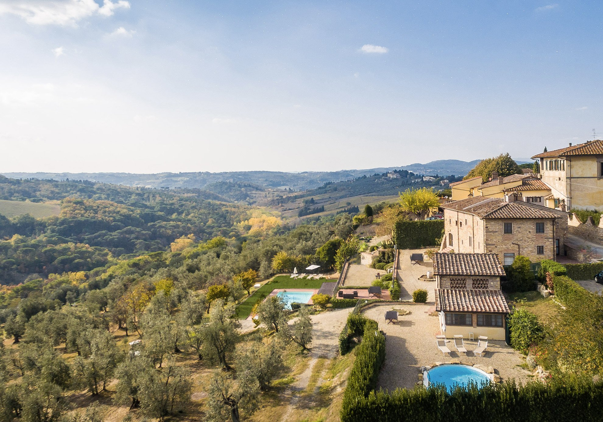 Aerial view of the Tuscan countryside and Relais Villa Olmo